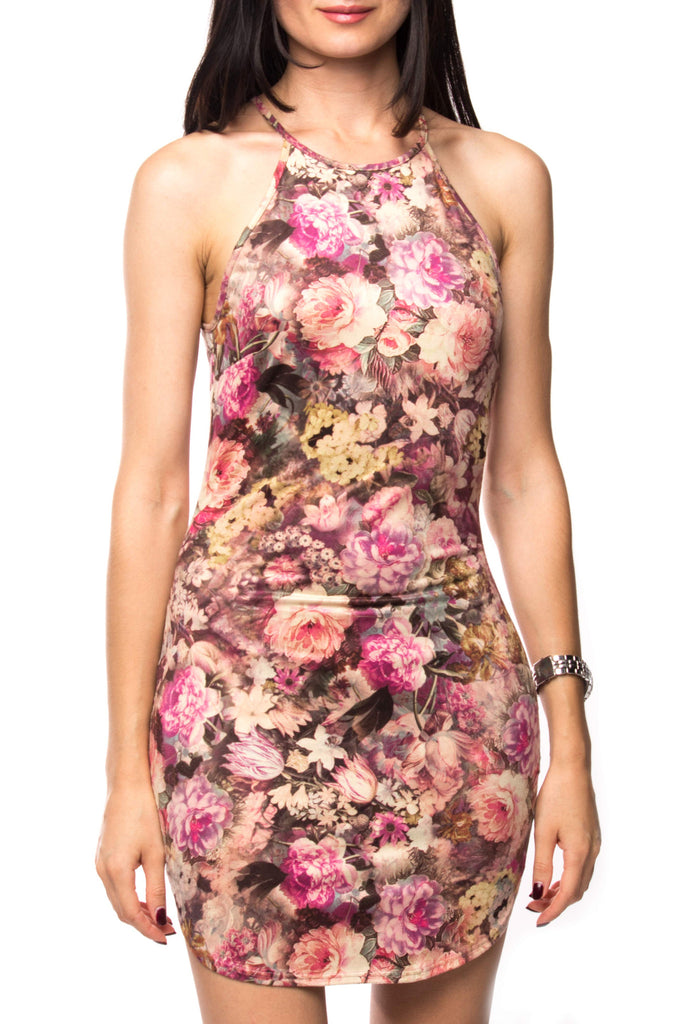 SPAGHETTI STRAP FLORAL SUEDE DRESS