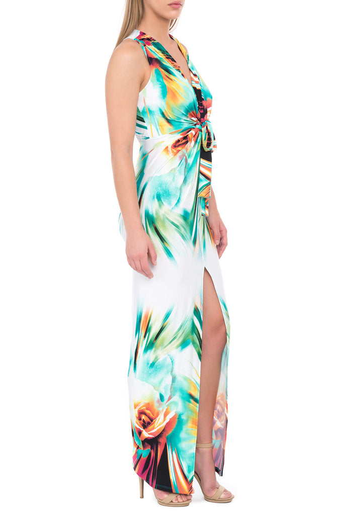 WATERCOLOR PRINT TWIST FRONT MAXI DRESS