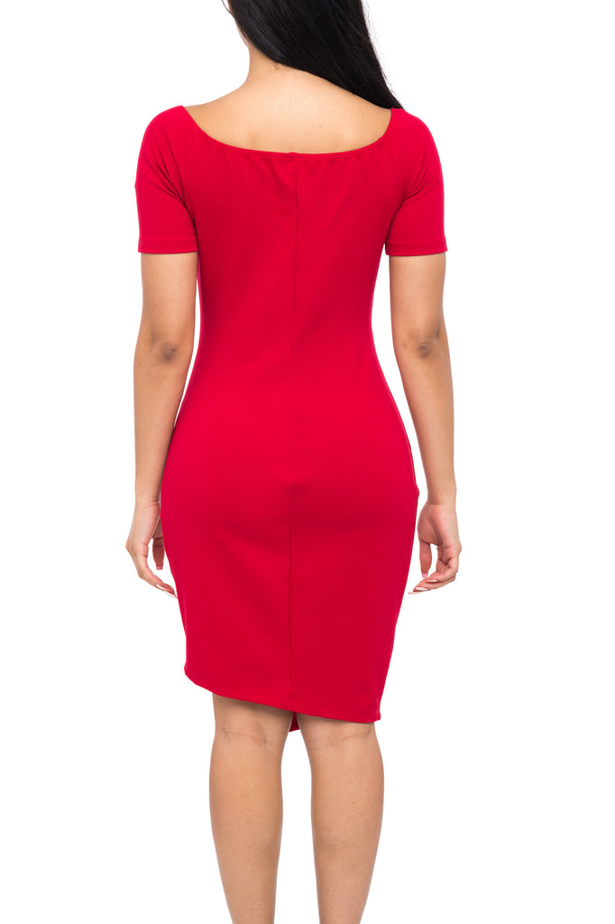 OFF THE SHOULDER V-NECK BODYCON DRESS