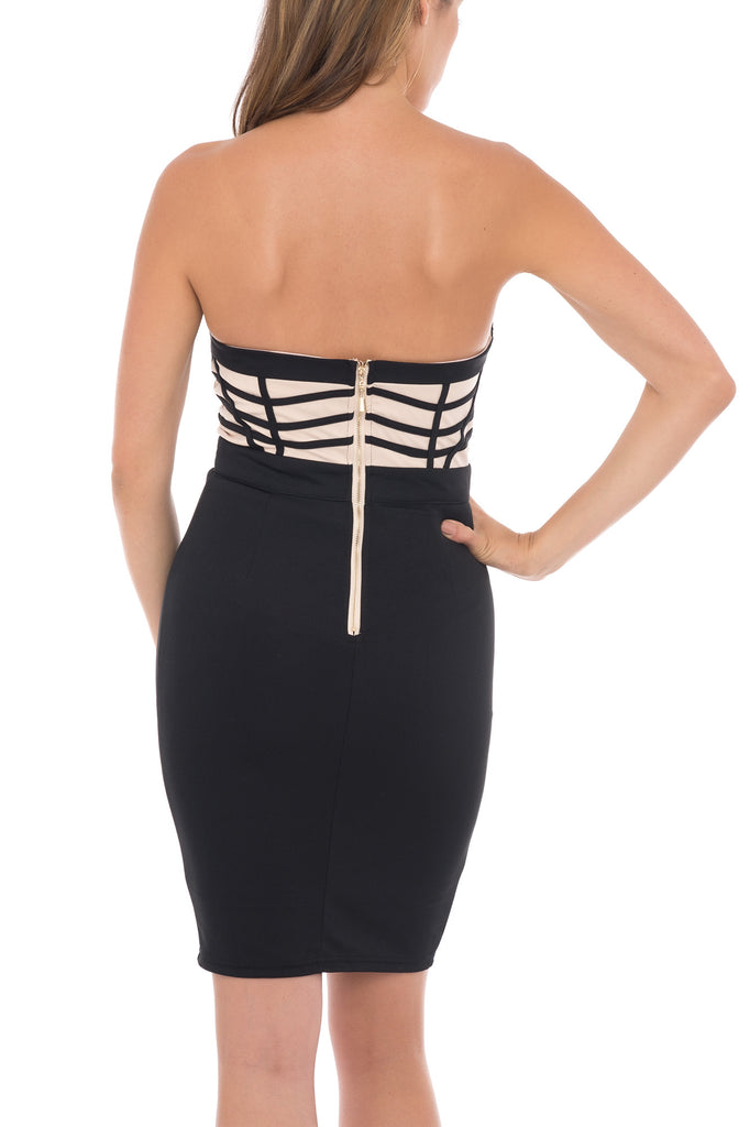 STRAPLESS BUSTIER BODYCON DRESS