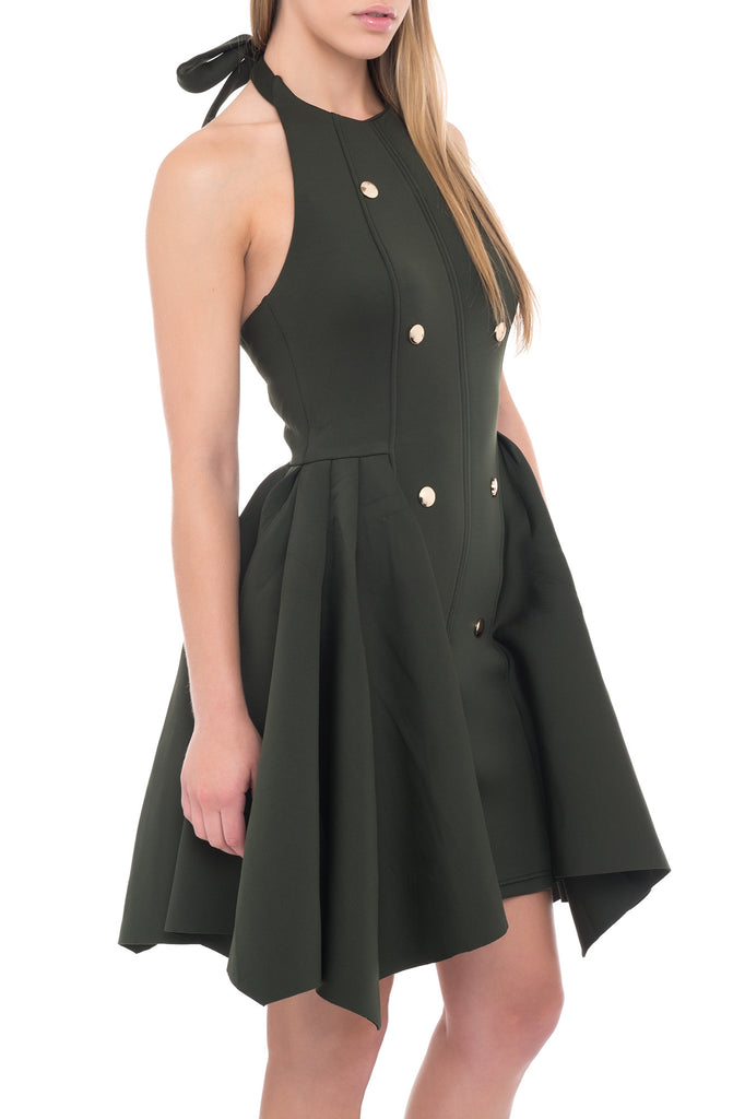 FLARED BUTTON HALTER DRESS