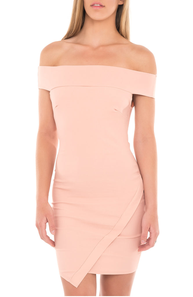 OFF THE SHOULDER FOLDOVER BODYCON DRESS