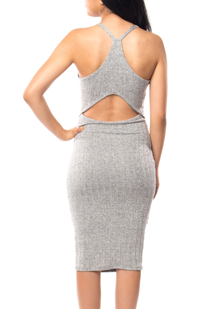 RIBBED KNIT RACERBACK BODYCON DRESS