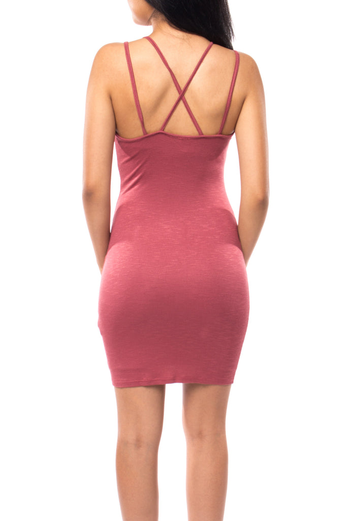 DOUBLE STRAP CROSSOVER BODYCON DRESS