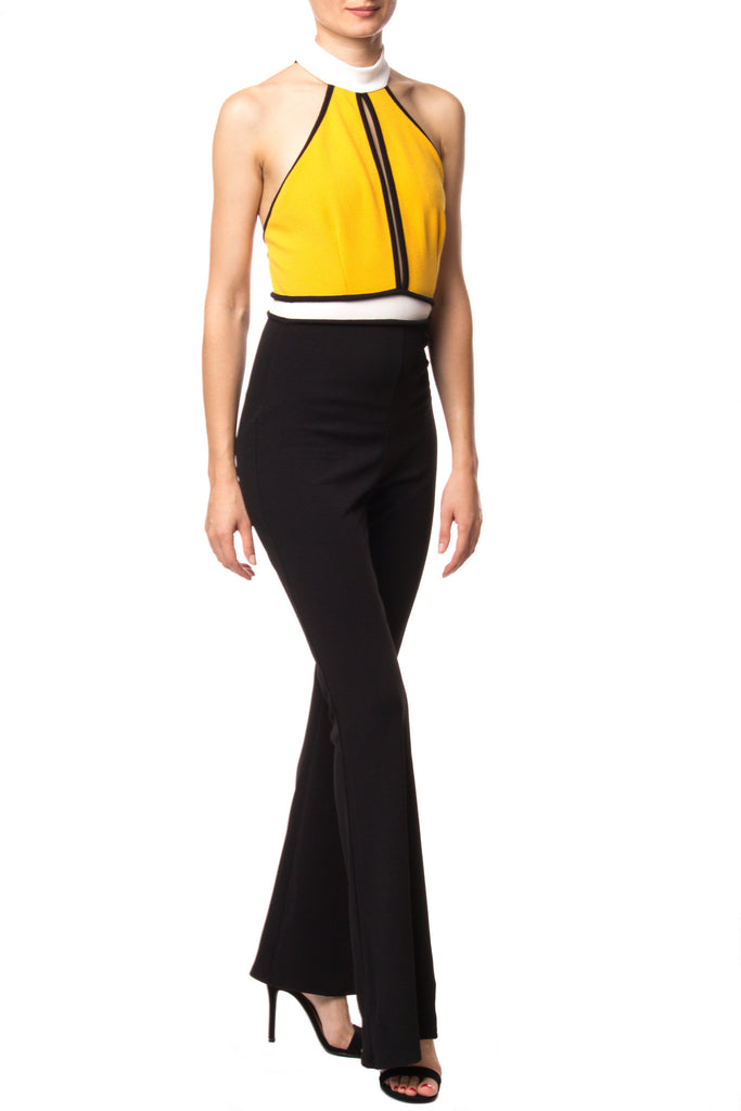 COLOR BLOCKED FLARED JUMPSUIT