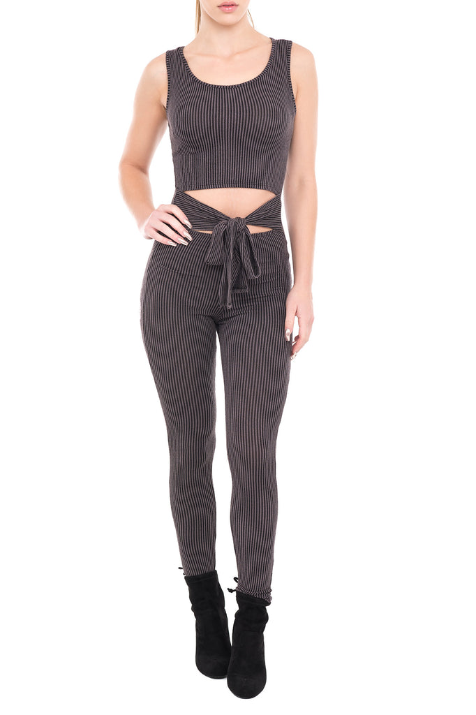 SLEEVELESS RIB KNIT JUMPSUIT WITH MIDRIFF CUT OUT