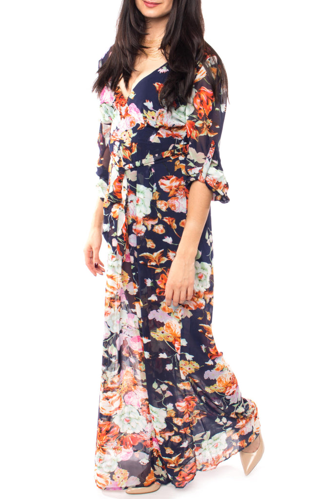 FLORAL LOW CUT JUMPSUIT