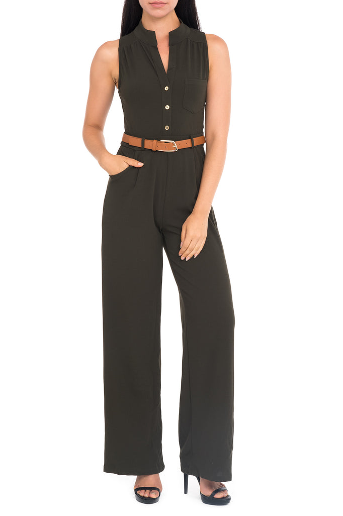 BUTTON-DOWN BELTED JUMPSUIT