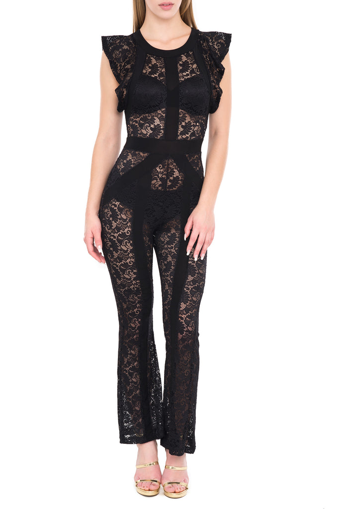 LACE FLUTTER SLEEVE FLARED JUMPSUIT