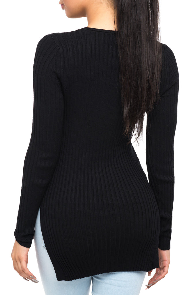 LONG SLEEVE V-NECK SWEATER WITH SIDE SLITS
