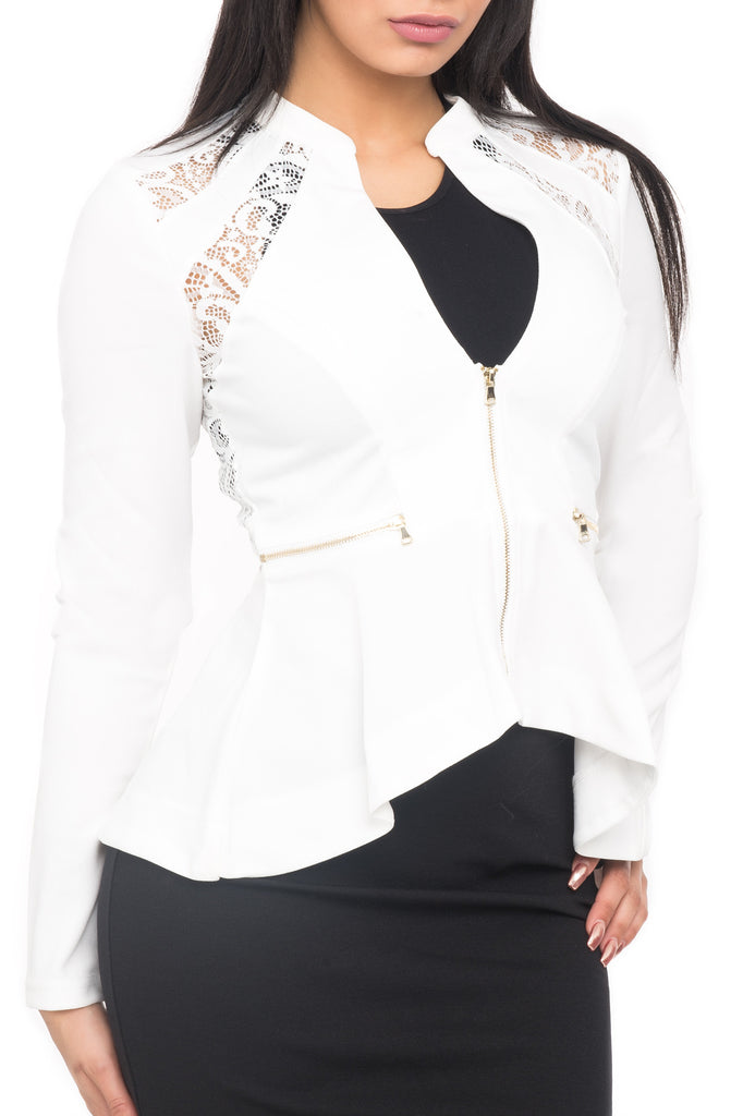 LACE TRIM PEPLUM JACKET