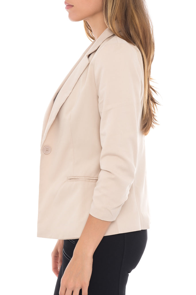 ROUCHED NOTCH COLLAR BLAZER