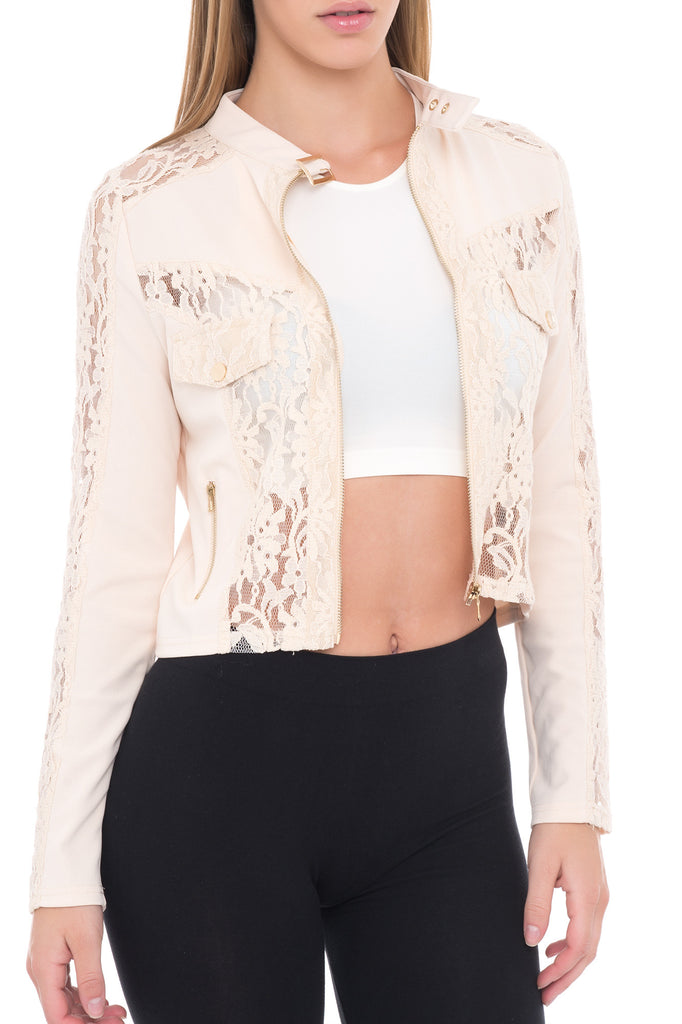 LACE ZIP-UP BIKER JACKET