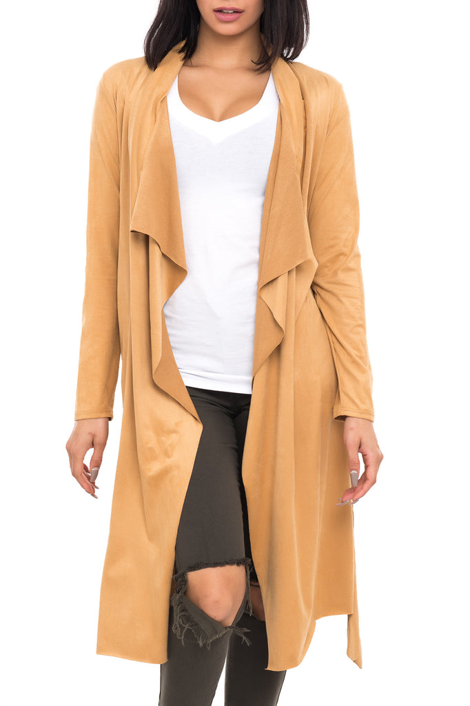 FAUX SUEDE WATERFALL DUSTER CARDIGAN