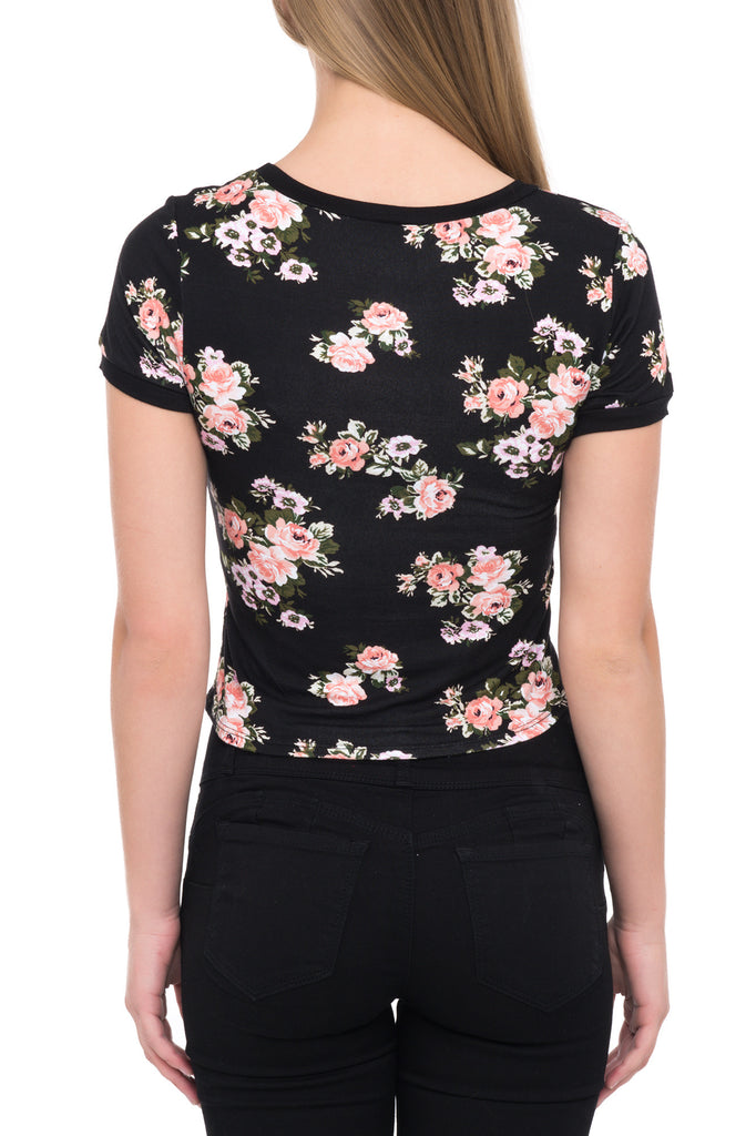 FORM FITTING FLORAL GRAPHIC TOP