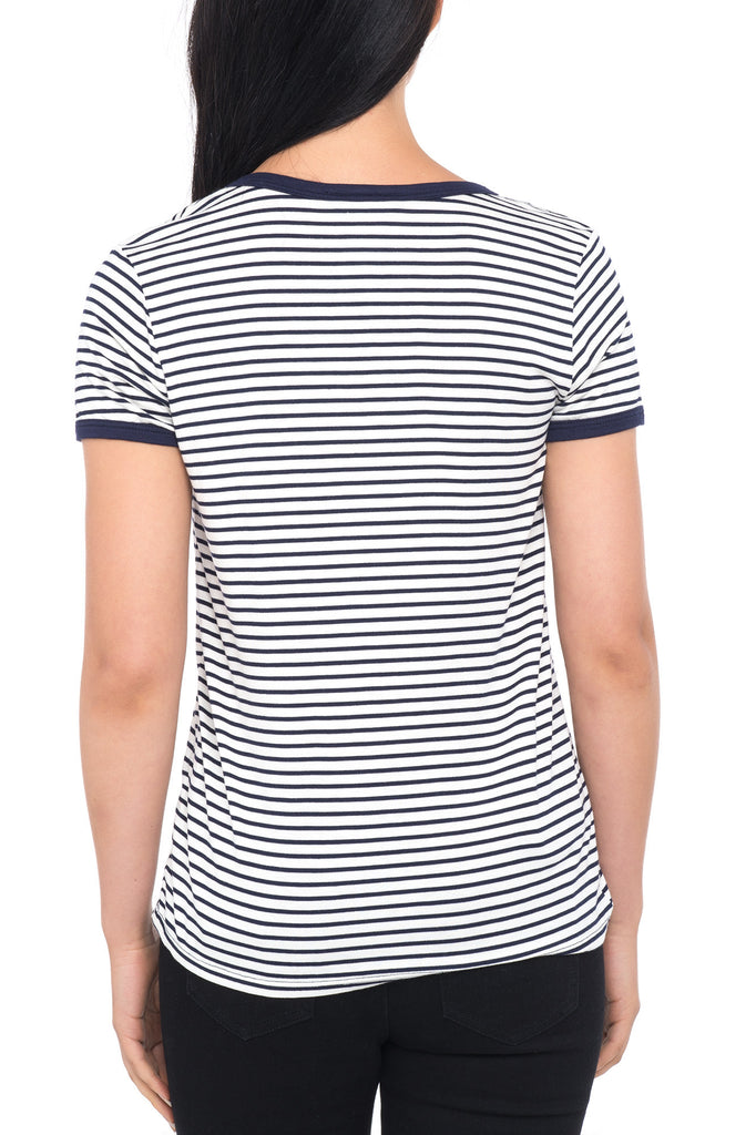 SHORT SLEEVE STRIPED T-SHIRT WITH PATCHES