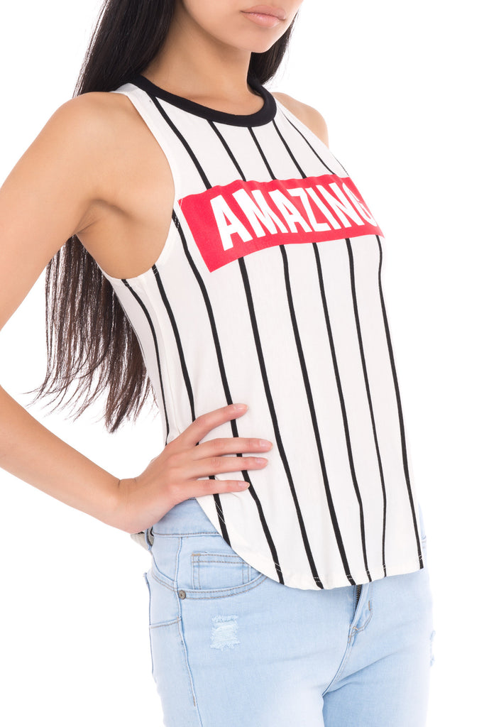STRIPED AMAZING GRAPHIC TANK