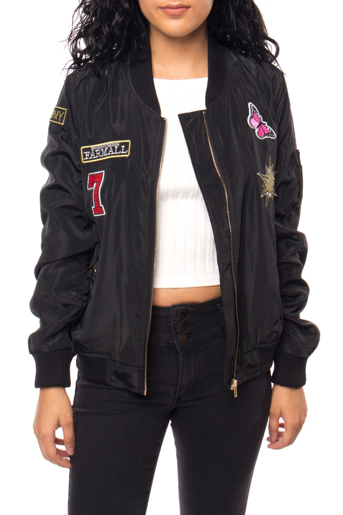BOMBER JACKET WITH ROUCHED BACK AND PATCHES