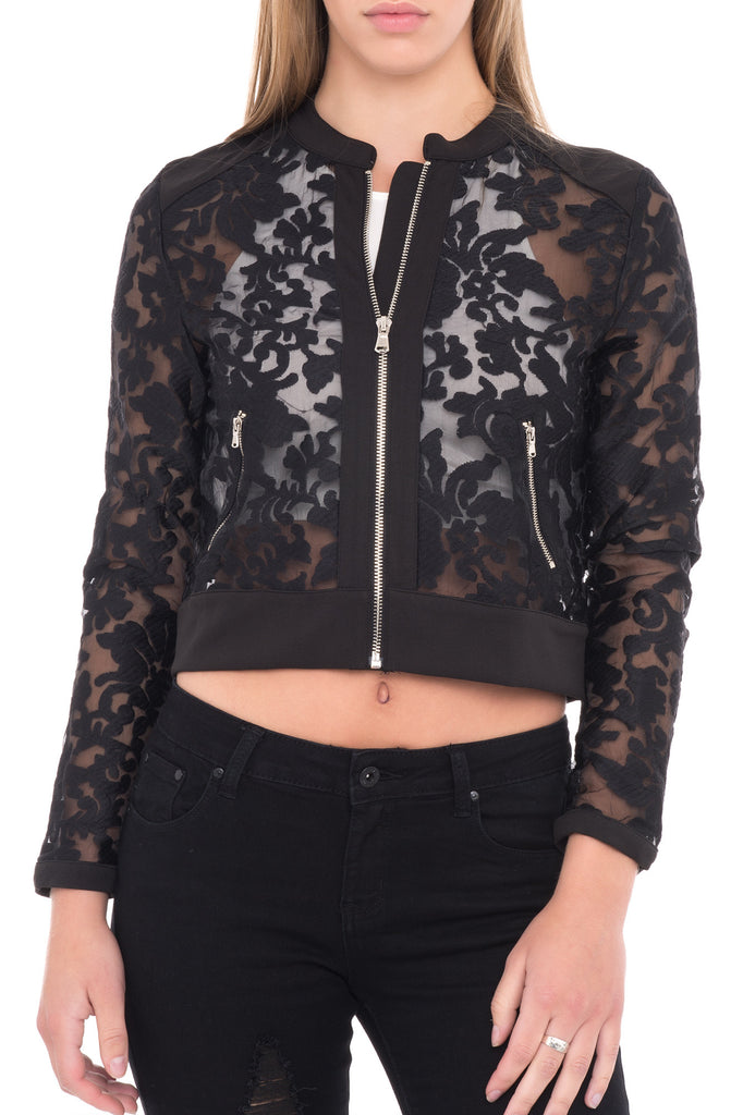 LACE ZIP-UP BOMBER JACKET