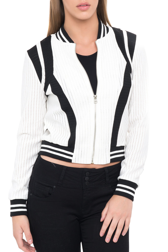 STRIPED MONOCHROME ZIP-UP BOMBER JACKET