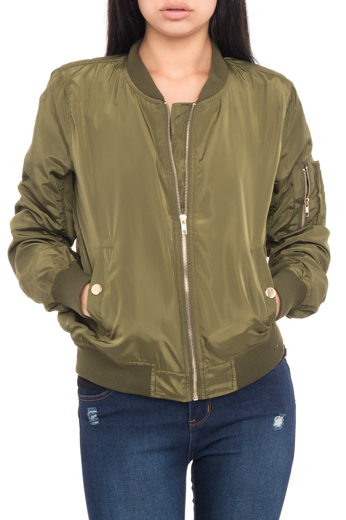 GOLD DETAILED BOMBER JACKET