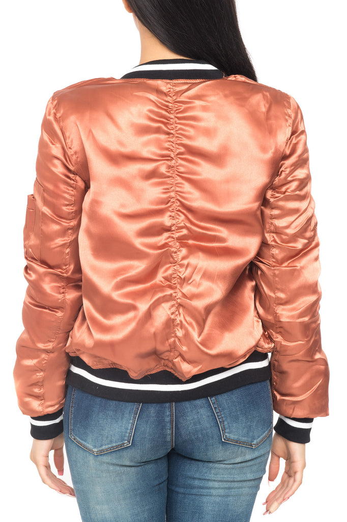 SATIN BOMBER JACKET WITH STRIPED TRIM