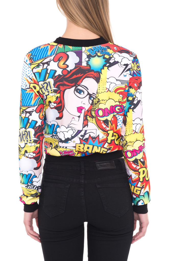 PRINT ZIP-UP BOMBER JACKET