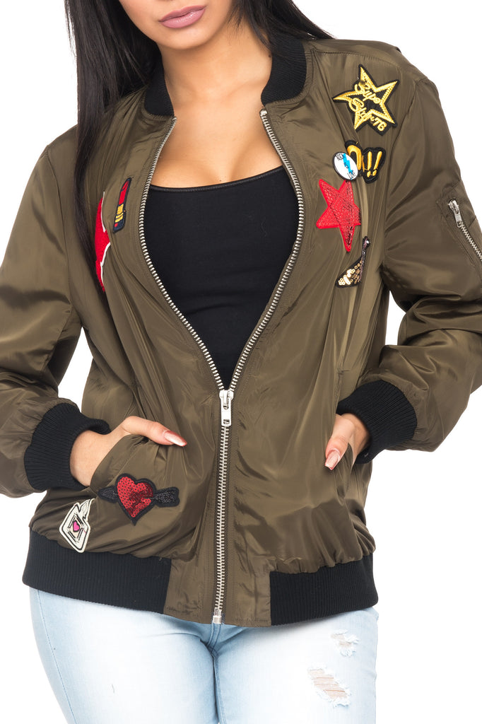 ZIP-UP BOMBER JACKET WITH PATCHES