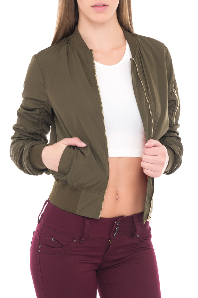 BOMBER JACKET WITH SHIRRED SLEEVES