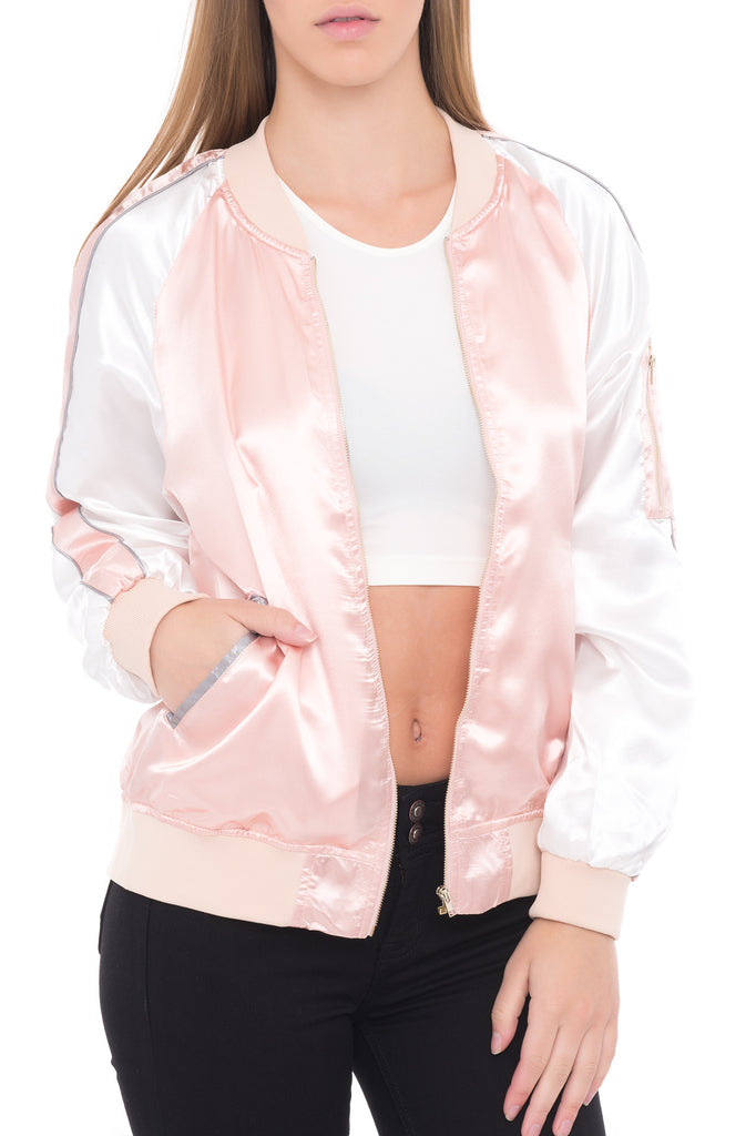 SATIN BOMBER JACKET WITH RACER STRIPE