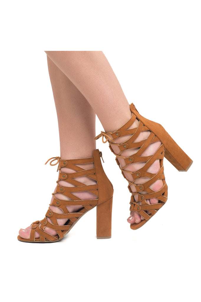 FAUX SUEDE CAGED LACE-UP CHUNKY HEEL