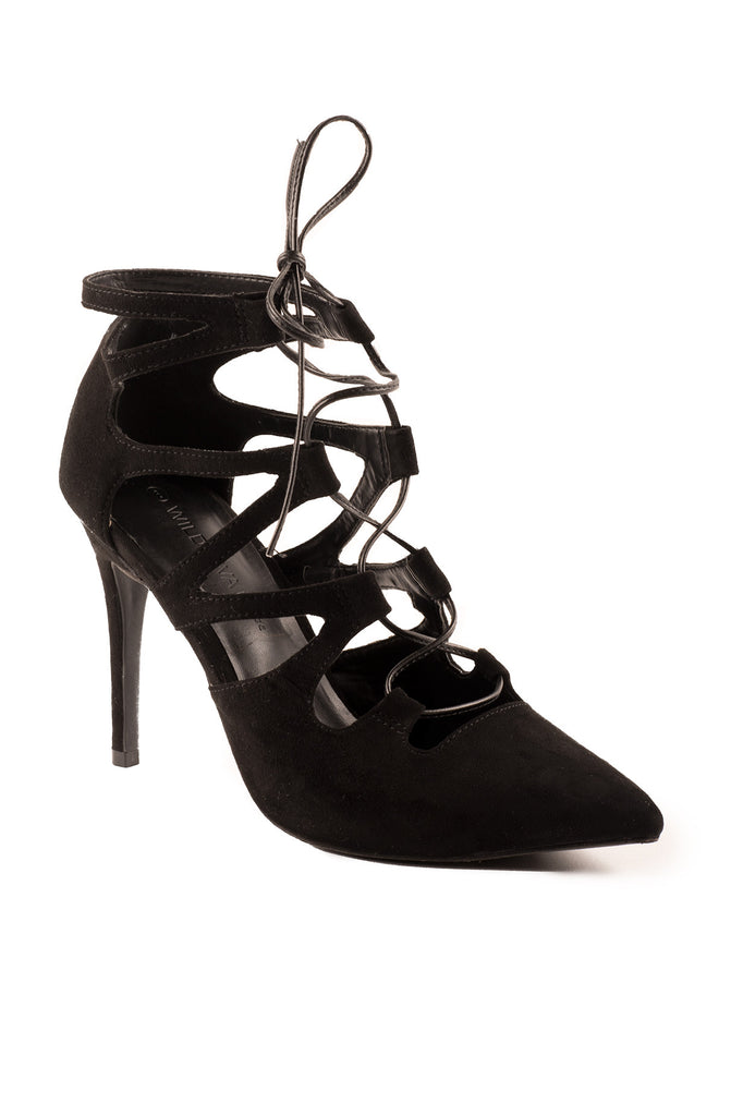FAUX SUEDE LACE-UP HEEL - PROMO 60% OFF
