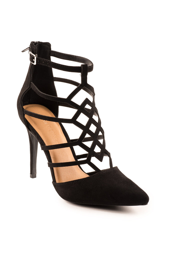 FAUX SUEDE CAGED HEEL - PROMO 60% OFF