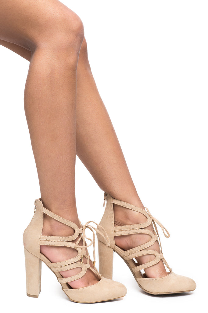 FAUX SUEDE CAGED LACE-UP HEEL - REDLINE