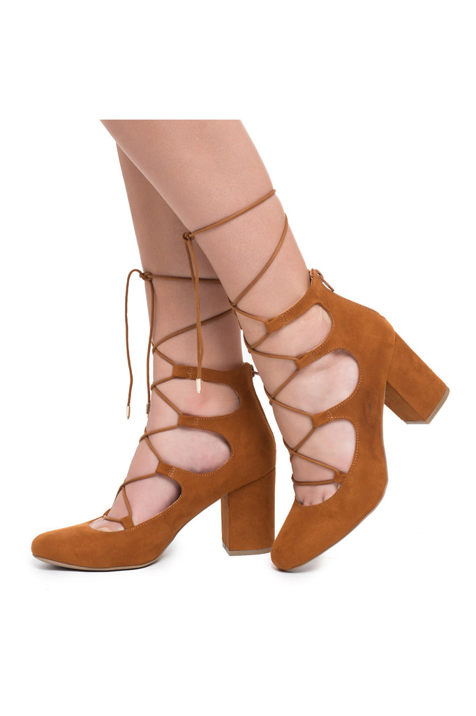 FAUX SUEDE LACE-UP PUMP
