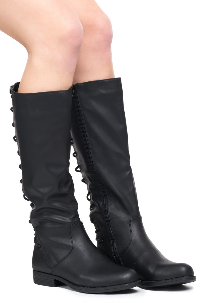 FAUX LEATHER KNEE HIGH LACE-UP BOOT