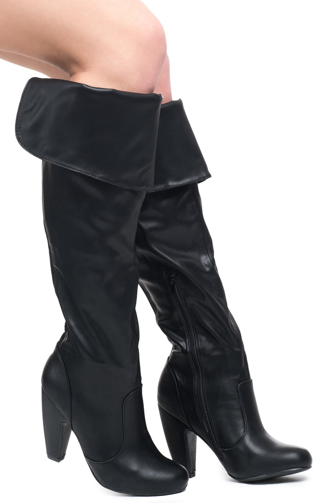 FAUX LEATHER KNEE HIGH FOLDOVER BOOT