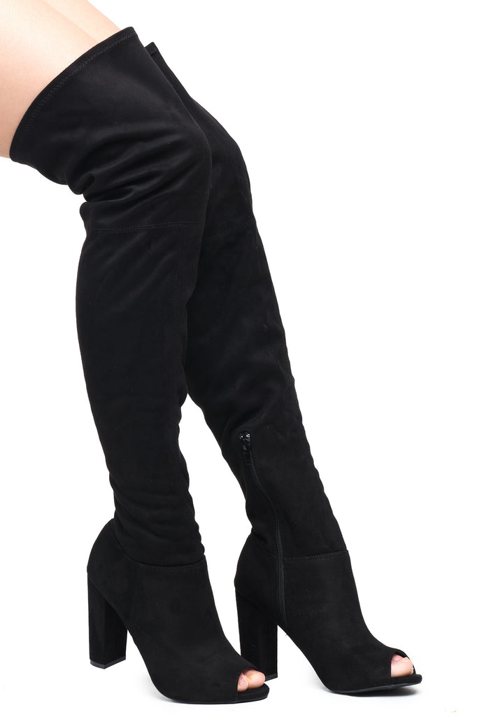 FAUX SUEDE OVER THE KNEE OPEN TOE BOOT