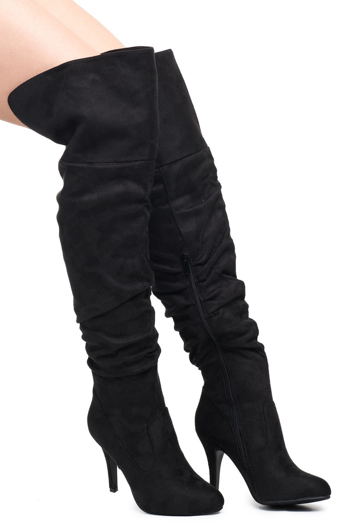 FAUX SUEDE OVER THE KNEE ROUCHED STILETTO BOOT