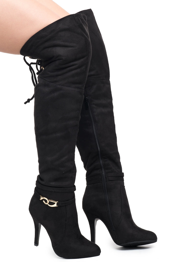 FAUX SUEDE OVER THE KNEE LACE-UP BOOT