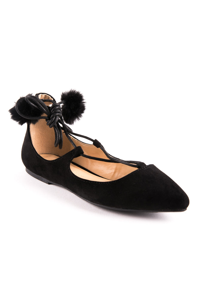FAUX SUEDE LACE-UP POM FLAT