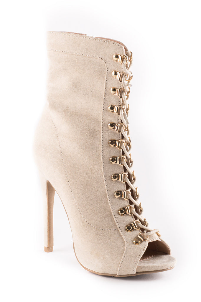 FAUX SUEDE OPEN TOE LACE-UP BOOTIE