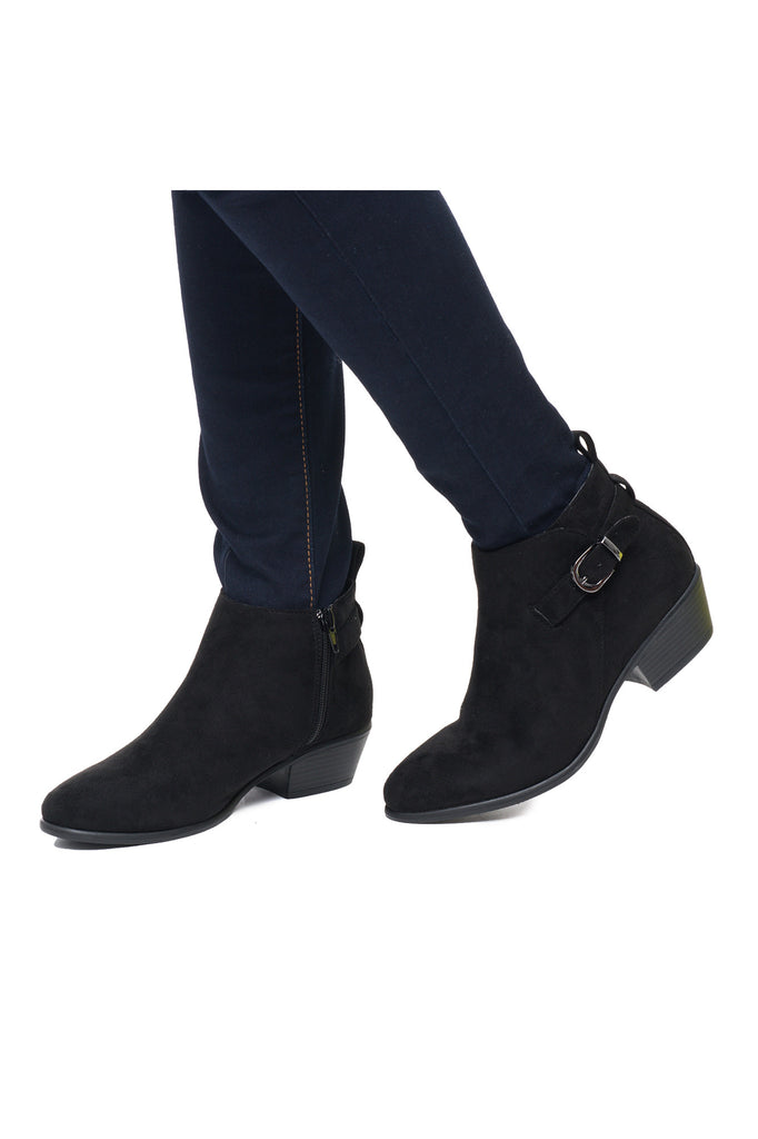 FAUX SUEDE BUCKLED ANKLE BOOT