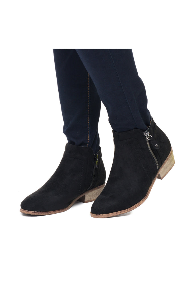 FAUX SUEDE SIDE ZIP ANKLE BOOT