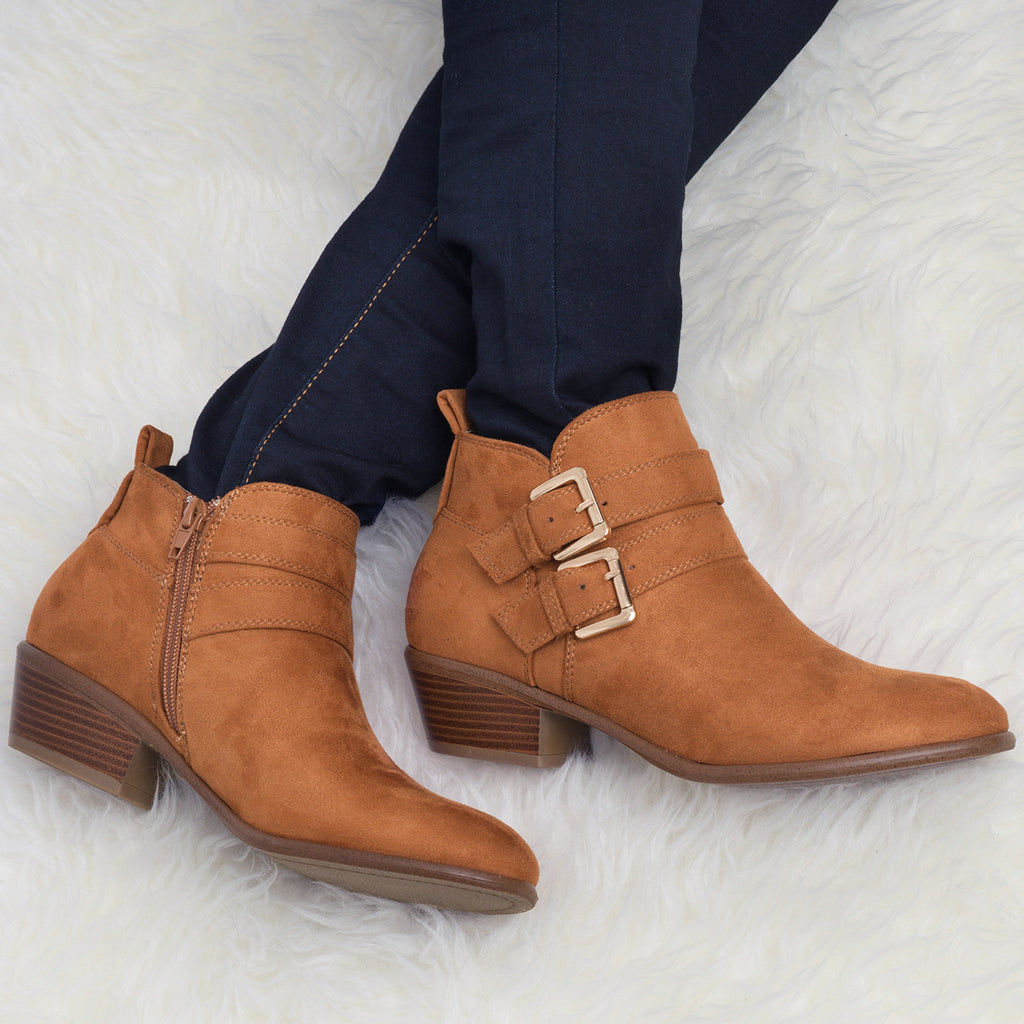 FAUX SUEDE DOUBLE BUCKLE ANKLE BOOT