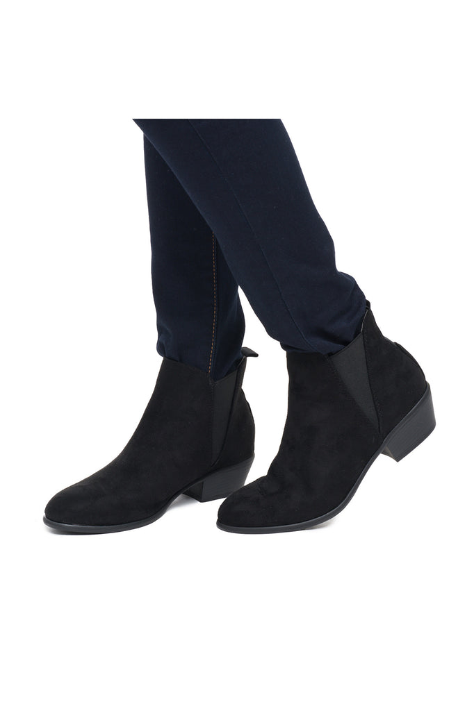 FAUX SUEDE STRETCH CHELSEA ANKLE BOOT