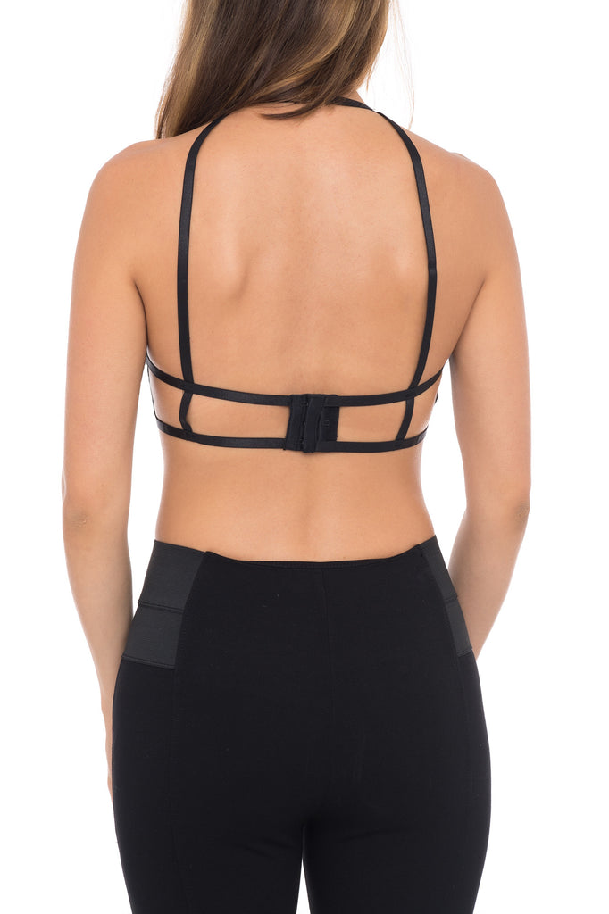 LACE CAGED STRAP CROP TOP