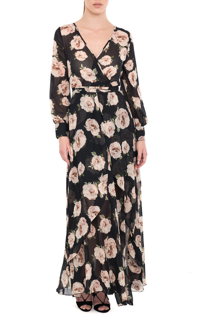 LONG CROSS FRONT PRINTED TRANSPARENT LINED DRESS