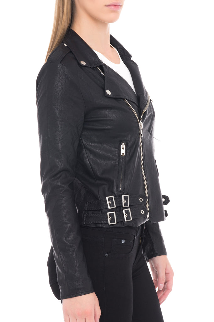 LONG SLEEVE MOTORCYCLE JACKET WITH SILVER BUTTONS AND ZIPPERS