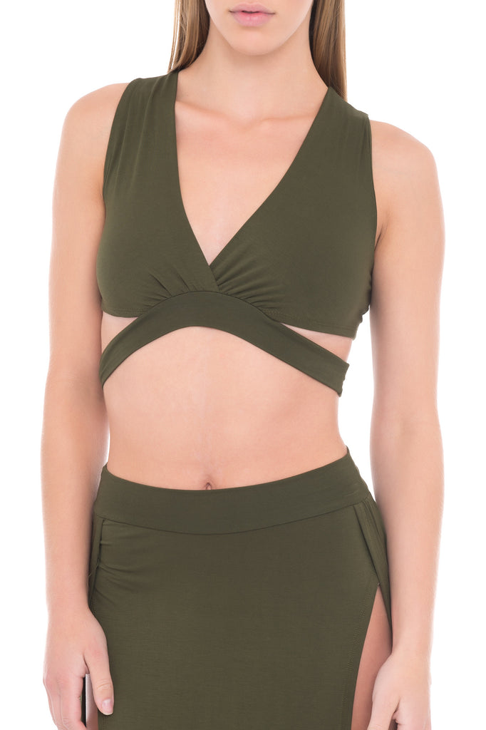 SLEEVELESS CROP TOP WITH DEEP V AND CUT OUTS - BLUELINE